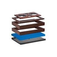 MODUL chlazený 4 misky, 13 cm, tmavý buk, dva základní rámy, na kterých je položen horní rám pro studený bufet a kompletní násta