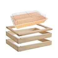 MODUL bufetový s košíkem na pečivo 13 cm, světlý buk; 2 základní dřevěné rámy, horní rám pro studený bufet a košík na pečivo s p