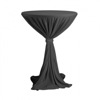 Venice - obrus na koktejlový stôl ∅ 80 - 85 cm so stuhou, antracit
