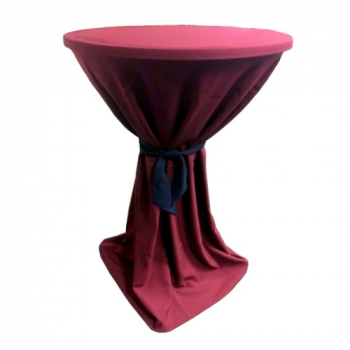Venice - bordó obrus na koktejlový stôl ∅ 80 - 85 cm s modrou stuhou