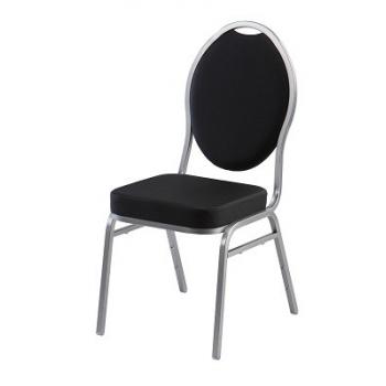 Banketová stoličky DIAMOND, čierna, strieborné nohy