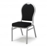 Banketová stoličky Seattle, čierna, strieborný rám