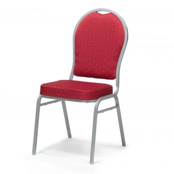 Banketová stoličky Seattle, červená, strieborný rám