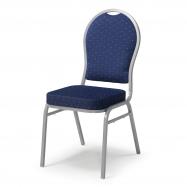 Banketová stoličky Seattle, modrá, strieborný rám