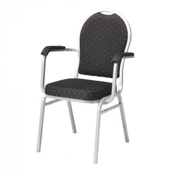 Banketová stoličky Seattle, s opierkami rúk, čierna, strieborný rám