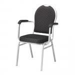 Stohovatelná jídelní židle s područkami potažená odolnou textilií s dekorativním vzorem. Židle má silně polstrovaný sedák a opěradlový úchyt umožňující snadnou manipulaci.   Silně polstrovaný sedák Stohovatelná Možnost spojování židlí