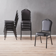 Banketová stoličky Chicago, čierna koženka, čierny rám