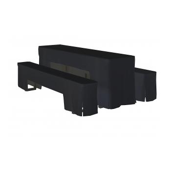 Arcade - sada obrusov na pivný set, 220 x 70 x V78 cm, Čierna