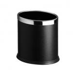 Dvojplášťový oválny, oceľový odpadkový kôš v čiernej farbe so strieborným krúžkom.