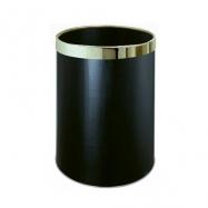 Odpadkový okrúhly izbový kôš čierny so strieborným krúžkom, 10 l