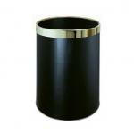 Izbový odpadkový kôš v čiernom prevedení sozlatým krúžkom, okrúhly s objemom 10l