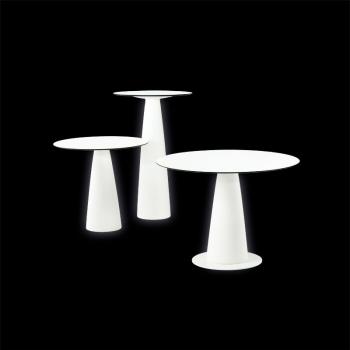 Koktejlový svietiaci stôl Hopla Light s guľatou doskou