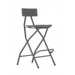 Barová skladacia stolička ALVARNEW jevyrobená z polyetylénu a lakovanej ocele. Vhodná pre intenzívne verejné použitie. Sklopná opierka na nohy umožňuje ľahké skladanie, jednoduchá preprava a skladovanie, priestranné a pohodlné sedadlo, vodeodolná, ideálna na vonkajšie použitie, maximálna nosnosť: 225 kg, výška sedadla 73 cm, výška k okraju operadla 104 cm,ZÁRUKA: 5 ROKOV