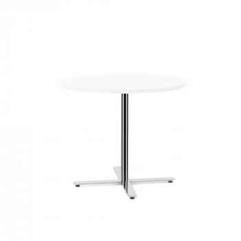 Stôl Tilo, Ø900x720 mm, chróm, biela