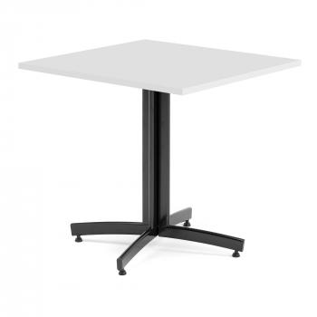 Kaviarenský stolík Sally, 700x700 mm, HPL, biela / čierna