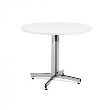 Okrúhly jedálenský stôl Sanna, Ø1100 mm, biela, chróm