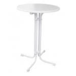 Biela MDF doska s priemerom 70 cm. Výška stola 110 cm. Stôl možno zložiť a ľahko uskladniť.