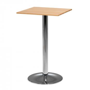 Barový stôl Siri, 700x700 mm, bukový masív, chrómovaná podnož