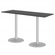 Barový stôl Luna, 1800x700 mm, HPL, čierny, podnože hliníkový lak