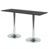 Barový stôl Luna, 1800x700 mm, HPL, čierny, chrómované podnože