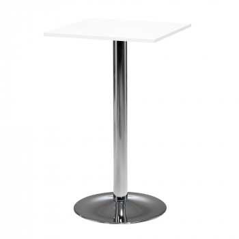 Barový stôl Bianca, 700x700 mm, HPL, biely, chrómované podnože