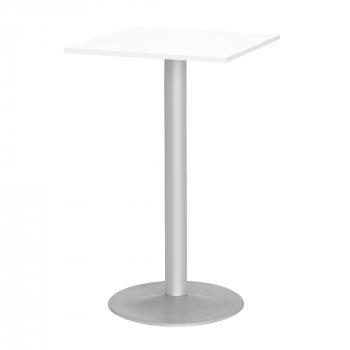 Barový stôl Bianca, 700x700 mm, HPL, biely, podnože hliníkový lak