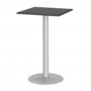 Barový stôl Bianca, 700x700 mm, HPL, čierny, podnože hliníkový lak