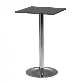 Barový stôl Bianca, 700x700 mm, HPL, čierny, chrómované podnože