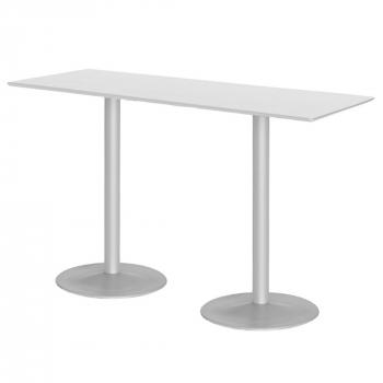 Barový stôl Luna, 1800x700 mm, HPL, biely, podnože hliníkový lak