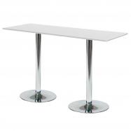 Barový stôl Luna, 1800x700 mm, HPL, biely, chrómované podnože