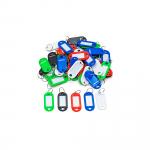 Plastové klíčové visačky v bílé, modré, zelené, červené a černé.   Plastové štítky s kroužkem S oknem pro popis Balení po 50 ks