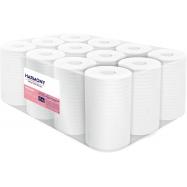Papierové uteráky v roli so stredovým odvíjaním Harmony Professional Midi, 2vr., celulóza, biele, 12x55m