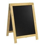 Ponuková stojanová rustikálna tabuľa SANDWICH 85 x 55 cm, prírodná farba