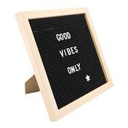 Nasúvacia tabuľa 30x30cm s dreveným rámčekom a 360 plast.písmeny, číslami a symbolmi