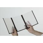 Jedálny lístok s priehľadnými doskami, A4, trojitý (6 strán), sada 3 kusov, farba okrajov: hnedá