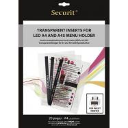 Transparentná vložka do LED jedálnych lístkov Securit, vhodné na tlač na atramentovej tlačiarni
