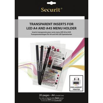 Transparentná vložka do LED jedálnych lístkov Securit, vhodné na tlač na laserovej tlačiarni
