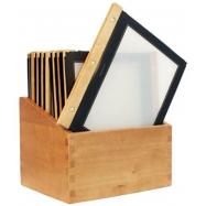 Box s jedálenskými lístkami Securit Wood Line - čierna