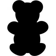 Popisovacie tabule Securit Silhouette MEDVEDÍK, vr. popisovača a upevňovacej pásky na stenu - čierna