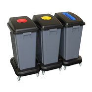 Zostava odpadkových košov na triedený odpad 3x60 l, na kolieskach, plast