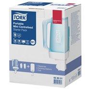 TORK mini prenosný zásobník na kotúče so stredovým odvíjaním - štartovací balíček: zásobník + 2 dokovacia držiaky + 1 role TORK