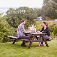 Záhradný stôl s lavicami, 1660x1700 mm, borovica, hnedý lak