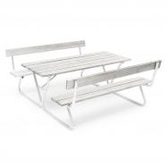 Extra dlhý piknikový stôl, 1800x1800 mm, lavica s operadlom, šedý