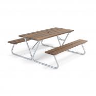 Extra dlhý piknikový stôl, 1800x1800 mm, lavica bez operadla, hnedý