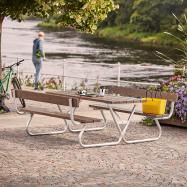 Extra dlhý piknikový stôl, 1800x1800 mm, lavica s operadlom, hnedý