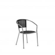 Záhradná stolička s opierkami, čierna, hliník