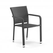Ratanová záhradná stolička, s opierkami rúk, čierna