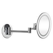 Kozmetické zrkadlo 225mm, na ramene, okrúhle, s telami i studeným osvetlením, plastový kryt