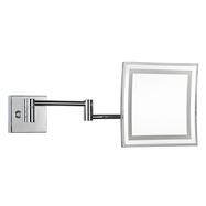Kozmetické zrkadlo 225x225mm, na ramene, hranaté, s teplým aj studeným osvetlením, plastový kryt