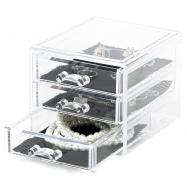 Malý organizér na šperky Compactor - 3 zásuvky, čirý plast